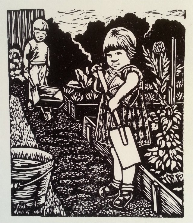 Little Helpers - linocut - Jenn White